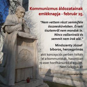 Mindszenty József bíboros, hercegprímás, a kommunizmus áldozata